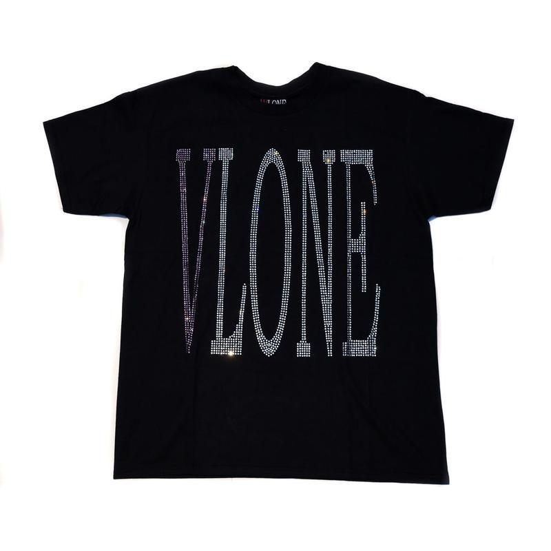 VLONE  RHINESTONE TEE / BLACK _ PURPLE