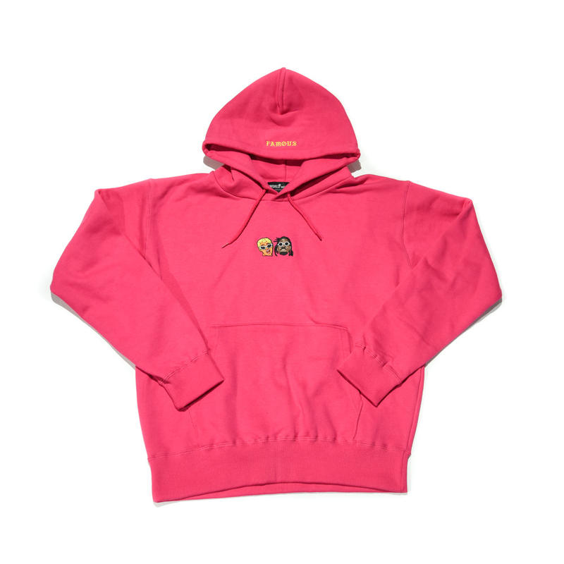 WORLD wide FAMOUS × AMOUR /CARDI OFFSET  PULLOVER HOODIE  / PINK