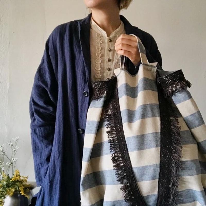 cotton linen stripe bag (blue)
