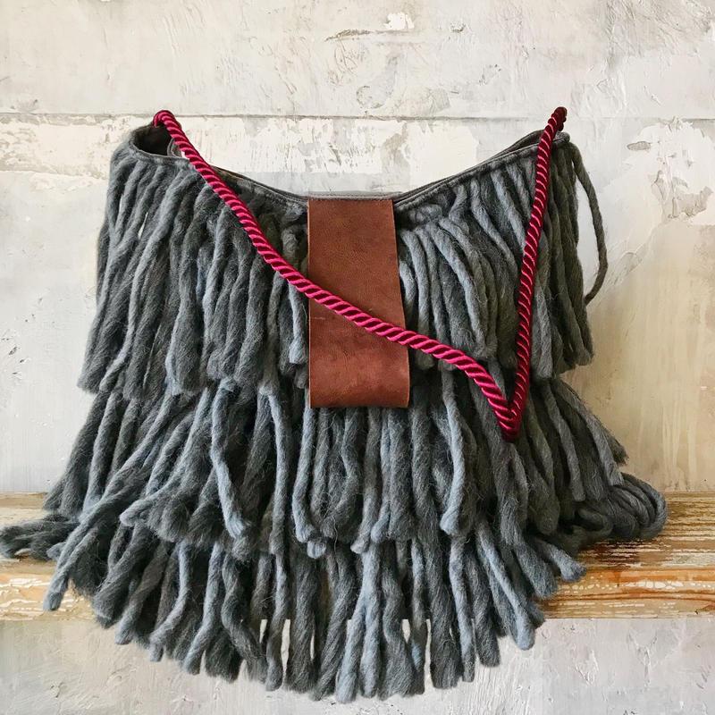 yarn fringe bag (gray)