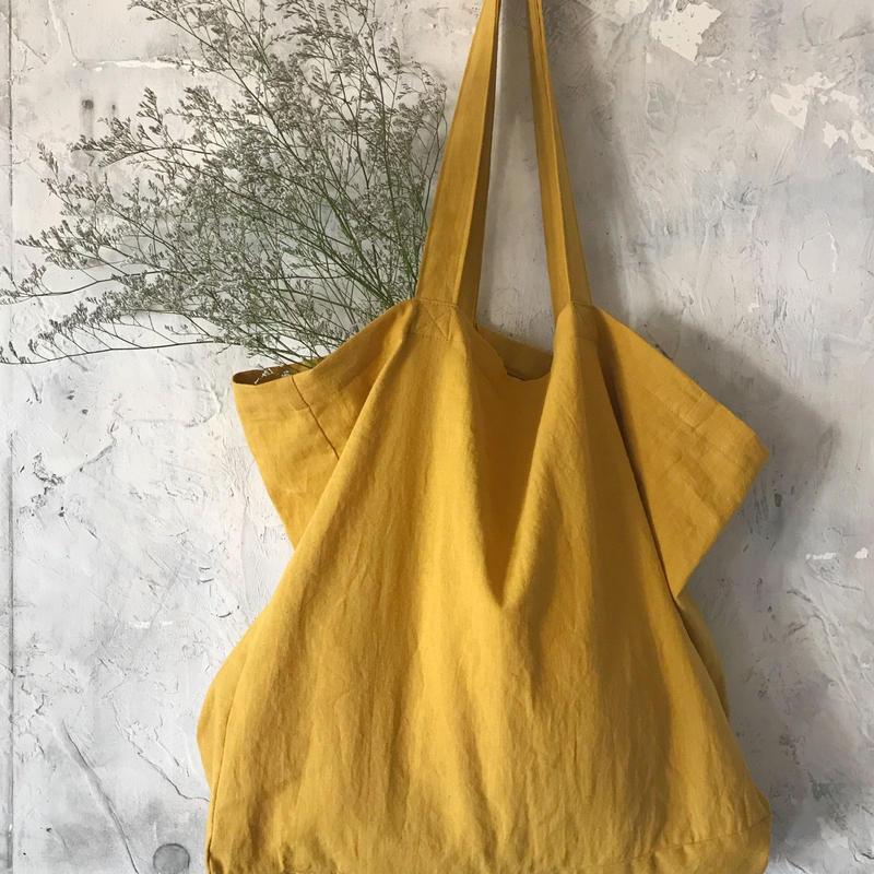 cotton linen bag (mustard)