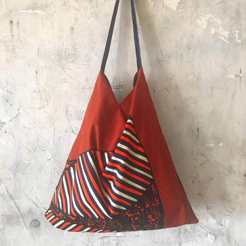 african fabric/velour bag (navy)