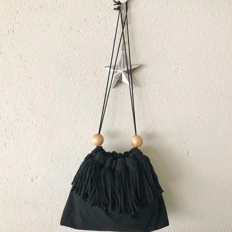 cotton linen fringe pouch (black)