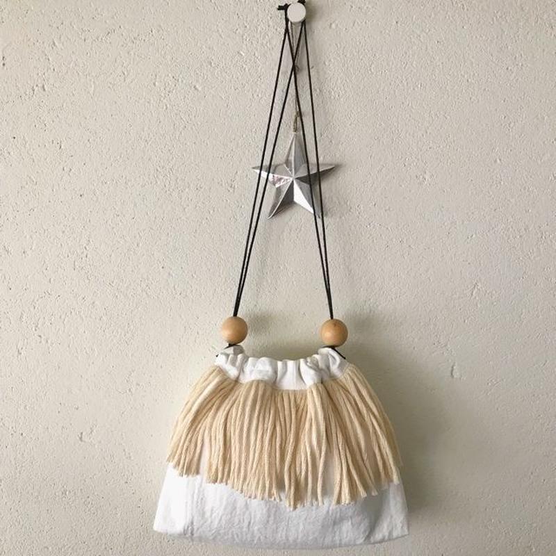 cotton linen fringe pouch (white)