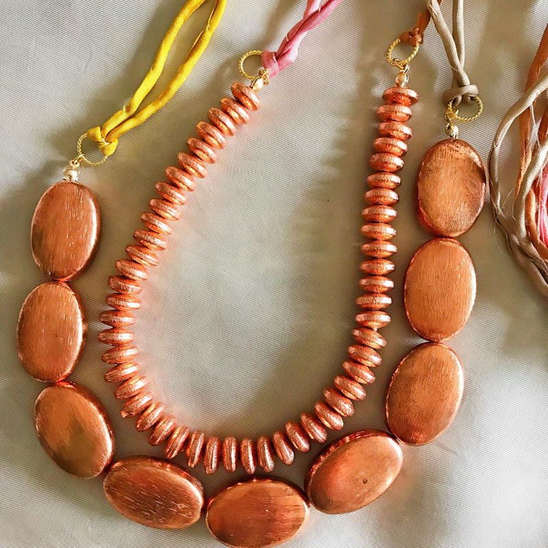 copper beads necklace (copper oval)