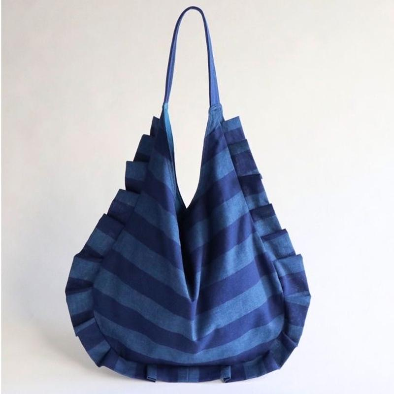 stripe frill bag (blue & blue)