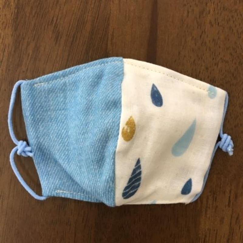 しずく柄 × デニム blue baby mask
