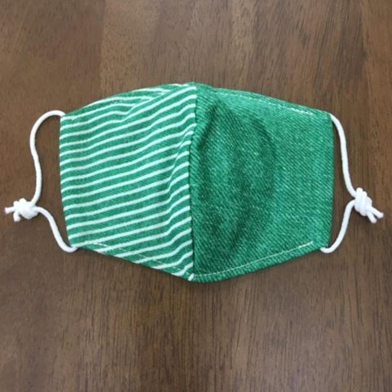 デニム風 × ボーダー green kids mask