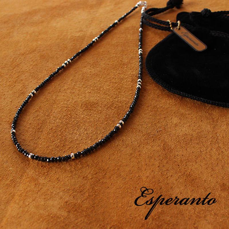 esperanto メンズ レディース ブラックスピネル ネックレス シルバービーズ 45cm エスペラント EM-423N