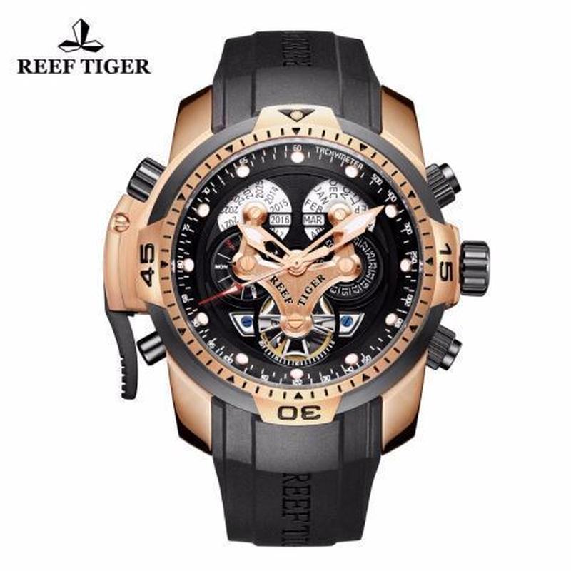 時計 ミリタリーウォッチ REEF TIGER メンズ 機械式 pbbg
