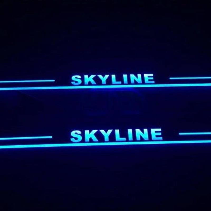 日産スカイライン カスタム スカッフプレート 光る LED フロント R32 R33 R34 R35