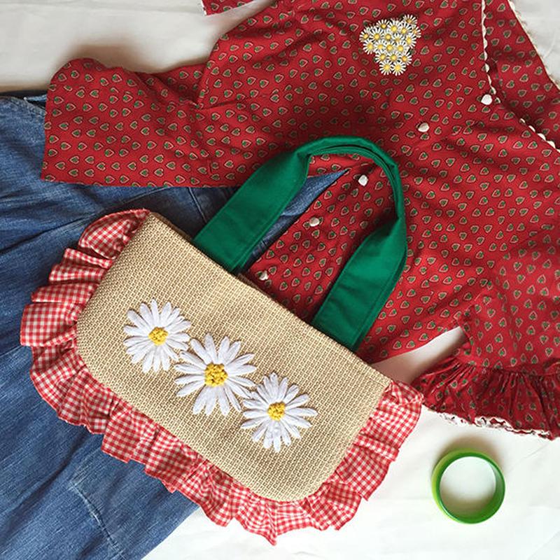 デイジーのバッグ | ギンガム×グリーン