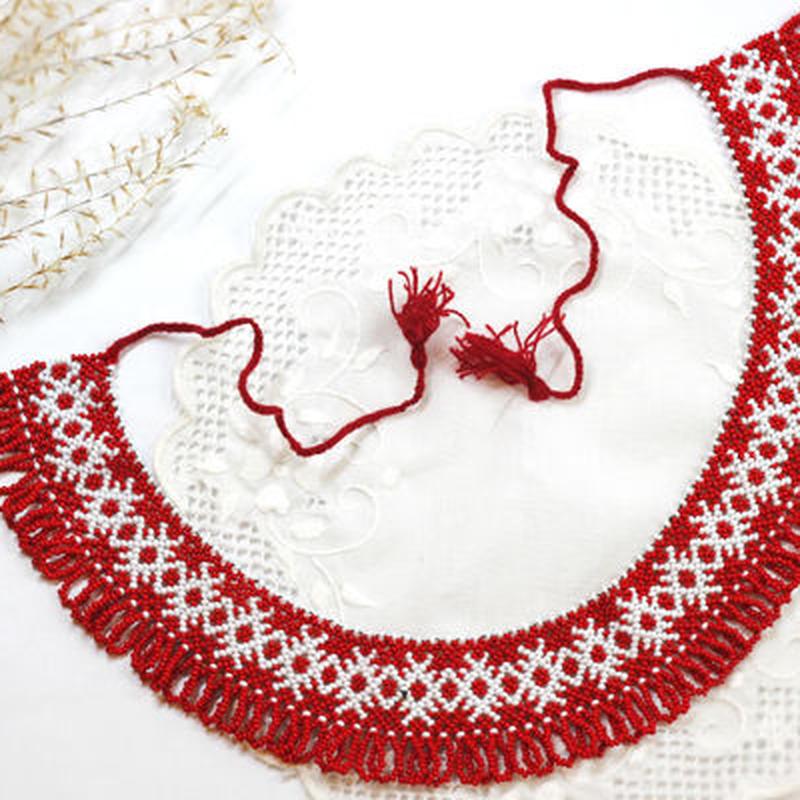 【ウクライナ雑貨】ビーズ刺繍ネックレス『チェリーブロッサム』 J5