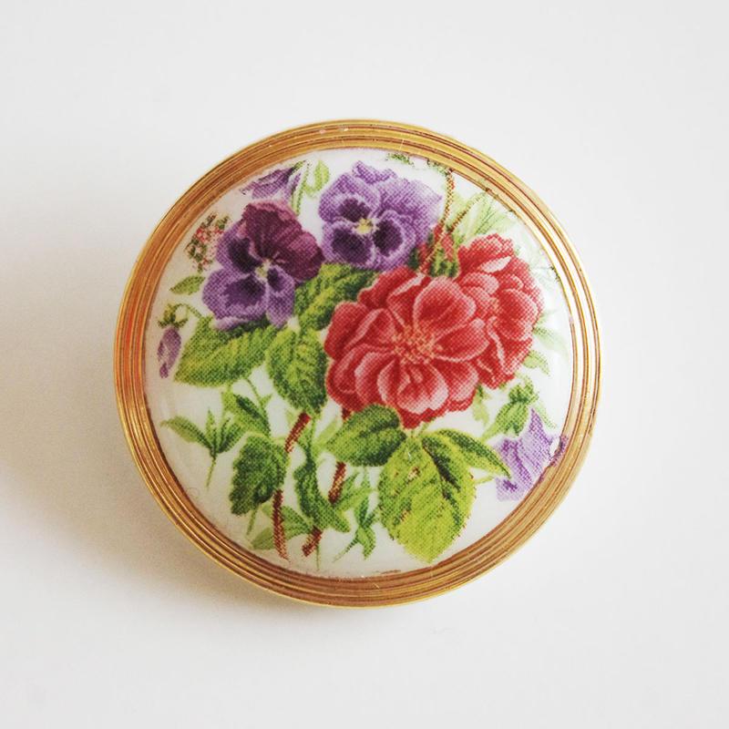 ビンテージ◆チェコ バラとパンジーのガラスボタン