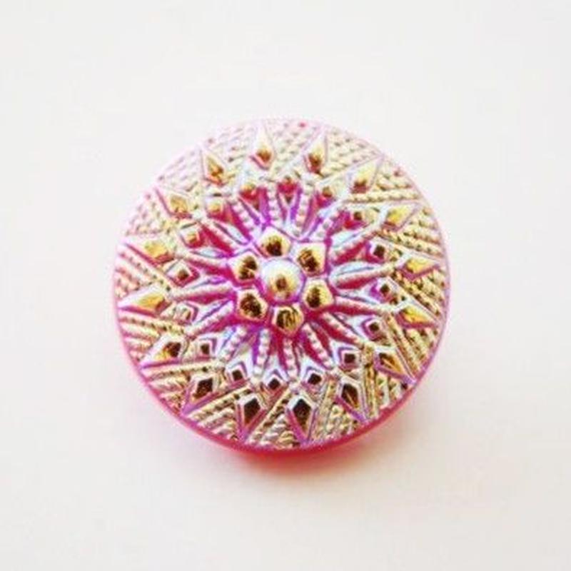 【gb-0004】ビンテージ◆チェコ フラワーモチーフ メタリックピンクのガラスボタン