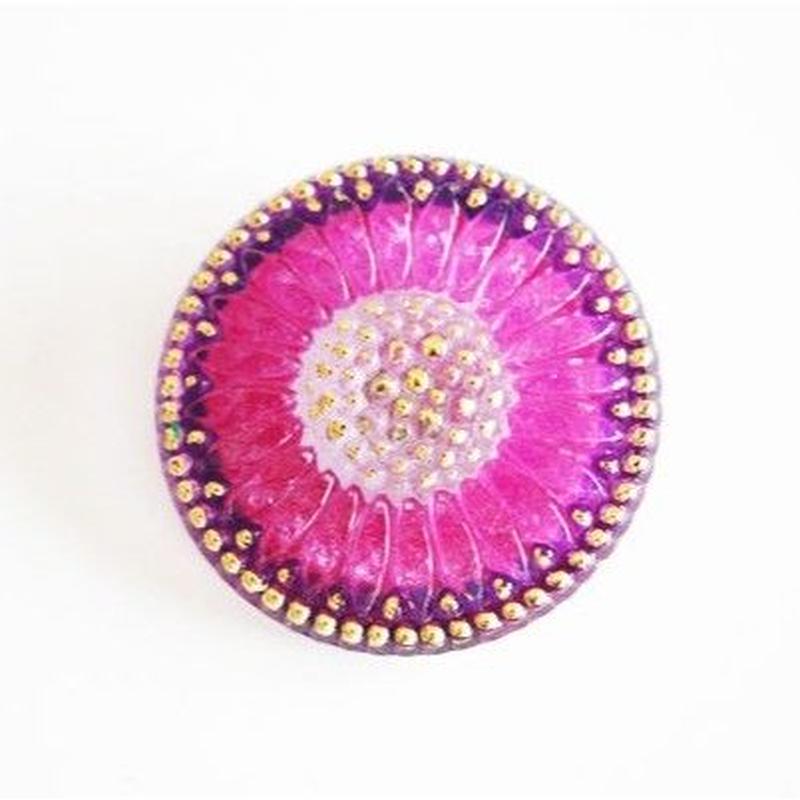 【gb-0029】ビンテージ◆チェコ 赤紫のフラワーガラスボタン