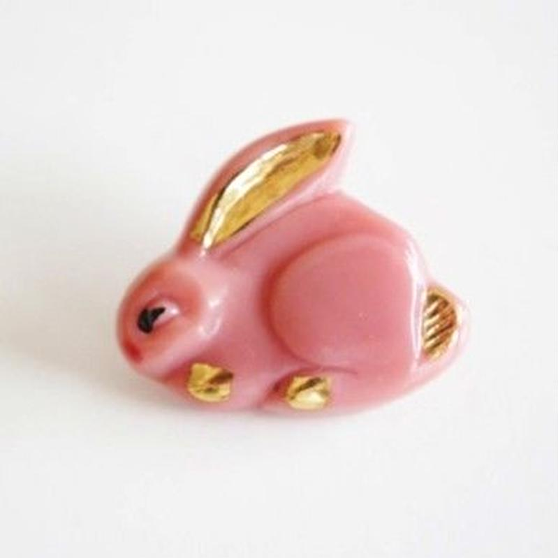 【gb-0025】ビンテージ◆チェコ ピンクのウサギガラスボタン