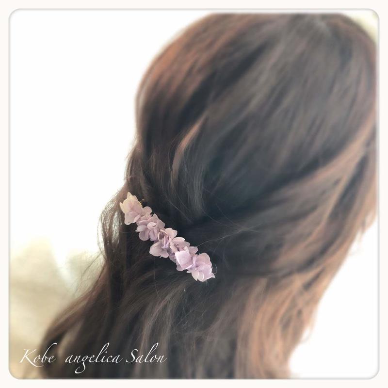 ボタニカルモチーフ/プリザーブドフラワー あじさいのバレッタ/パープルラベンダーの髪飾り。ウエディング・誕生日