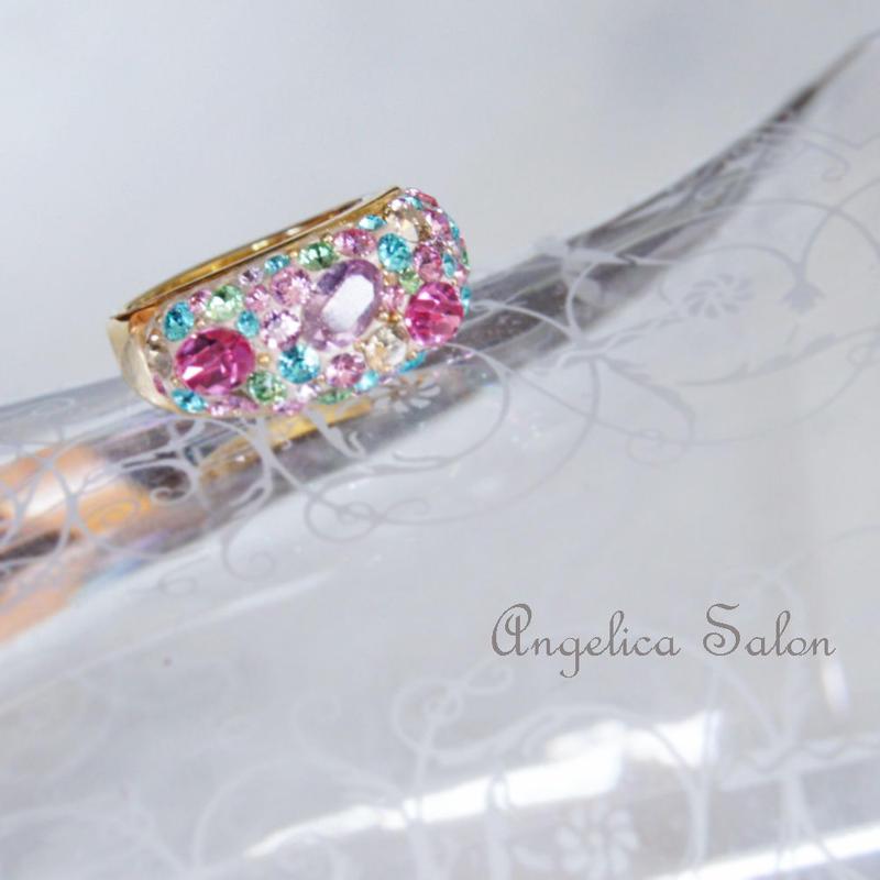 パステルミックス ピンク系 スワロフスキー グルーデコ ハンドメイドリングの指輪