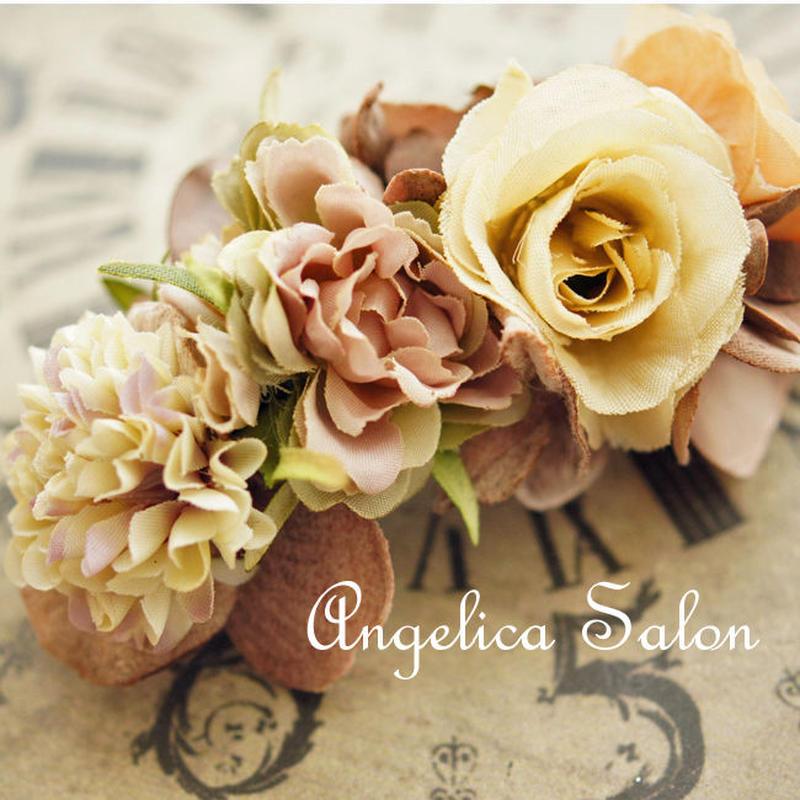 大人かわいいアンティーク調のお花バレッタ ヘアオーナメント・アートフラワーの髪飾り