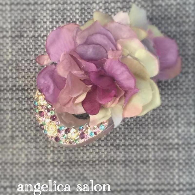 ラプンツェルのバンズクリップ ヘアコサージュ/大人のお花髪飾りヘアクリップ スワロフスキークリスタルとアーティフィシャル ウエディング・成人式・お誕生日プレゼント・自分にご褒美