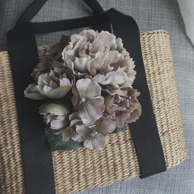 アートの様なお花カゴバッグ <Lサイズ>A4サイズが入るかごバッグ