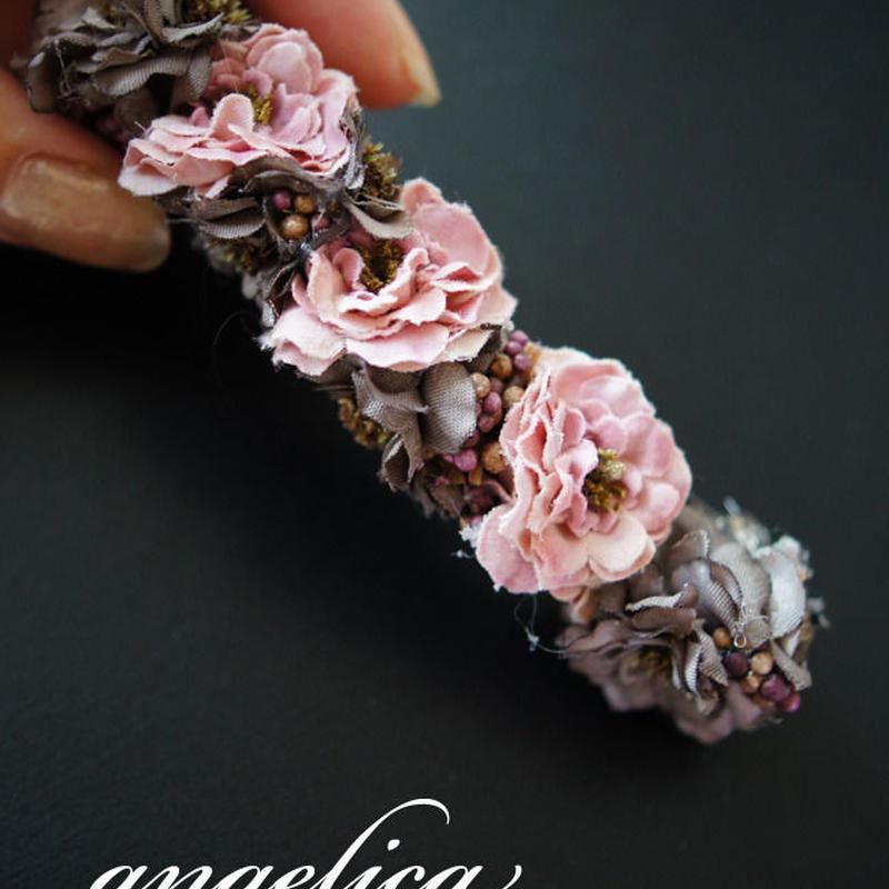 【サービス価格】アンティーク調のシックなバレッタ 大人のお花髪飾り