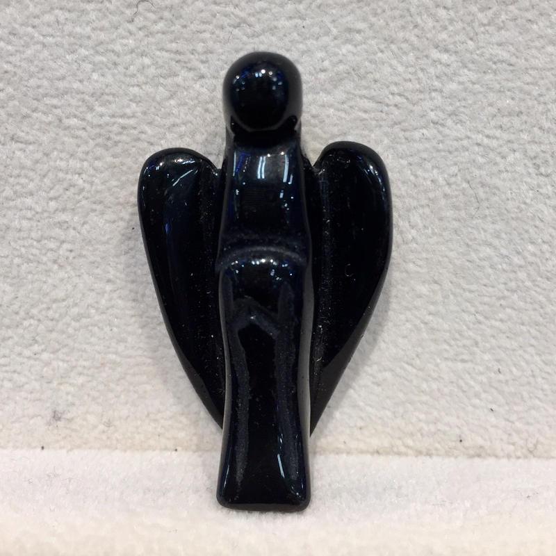 ミニサイズ ブラックオブシディアン天使 手彫りの守護天使2