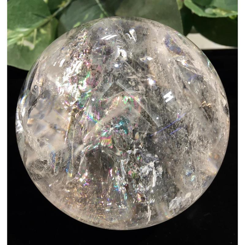 丸玉 特大水晶 レインボー入り890g