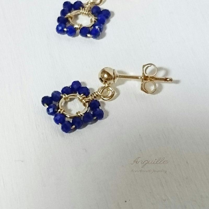 14kgf*Lupis Luzuli Square Earrings*