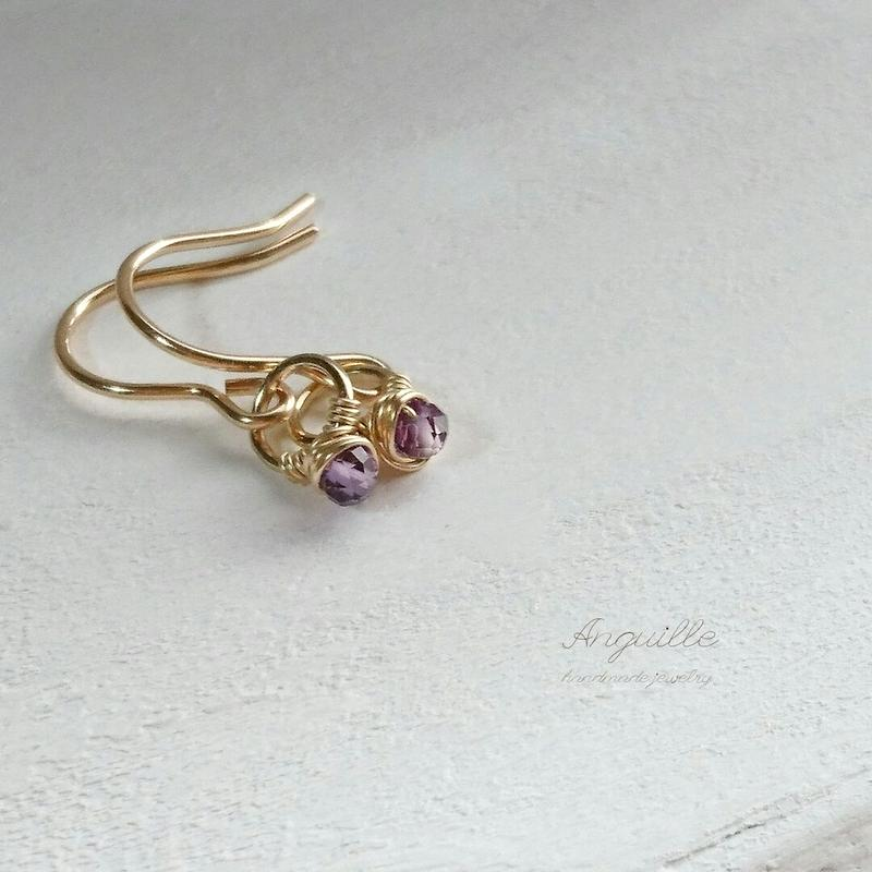 14kgf*Mini Ring Earrings  [Amethyst]*