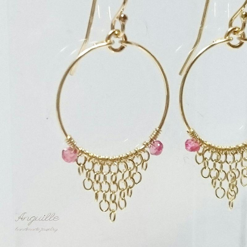 *14kgf*Red Spinel Hoop & Chain Oriental Earrings
