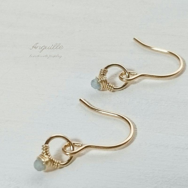 14kgf*Mini Ring Earrings  [Aquamarine]*