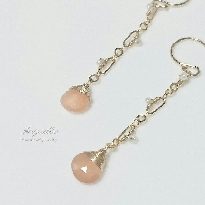 14kgf*Orange Moon Stone & Fresh Water Pearls Earrings*