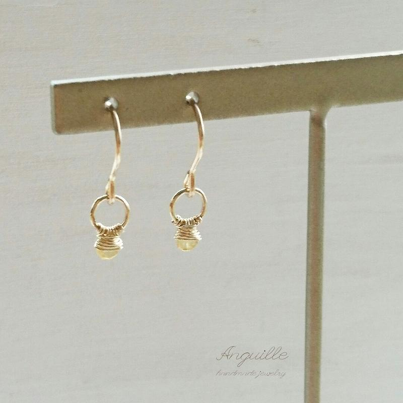 14kgf*Mini Ring Earrings  [Yellow Sapphire]*