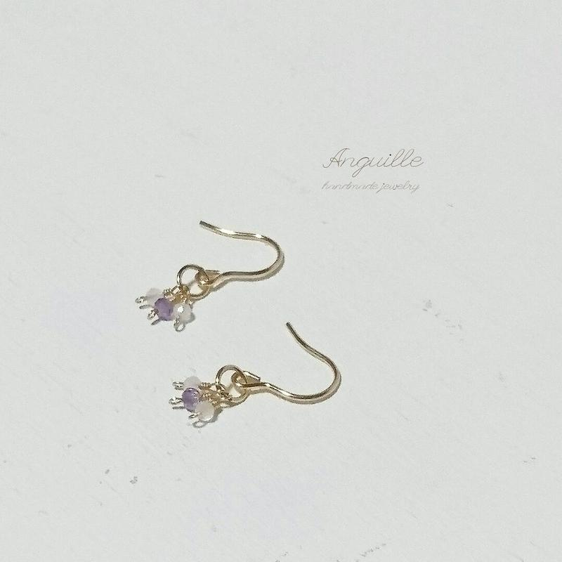 14kgf*Petite Earrings [Amethyst & Rose Quartz]*