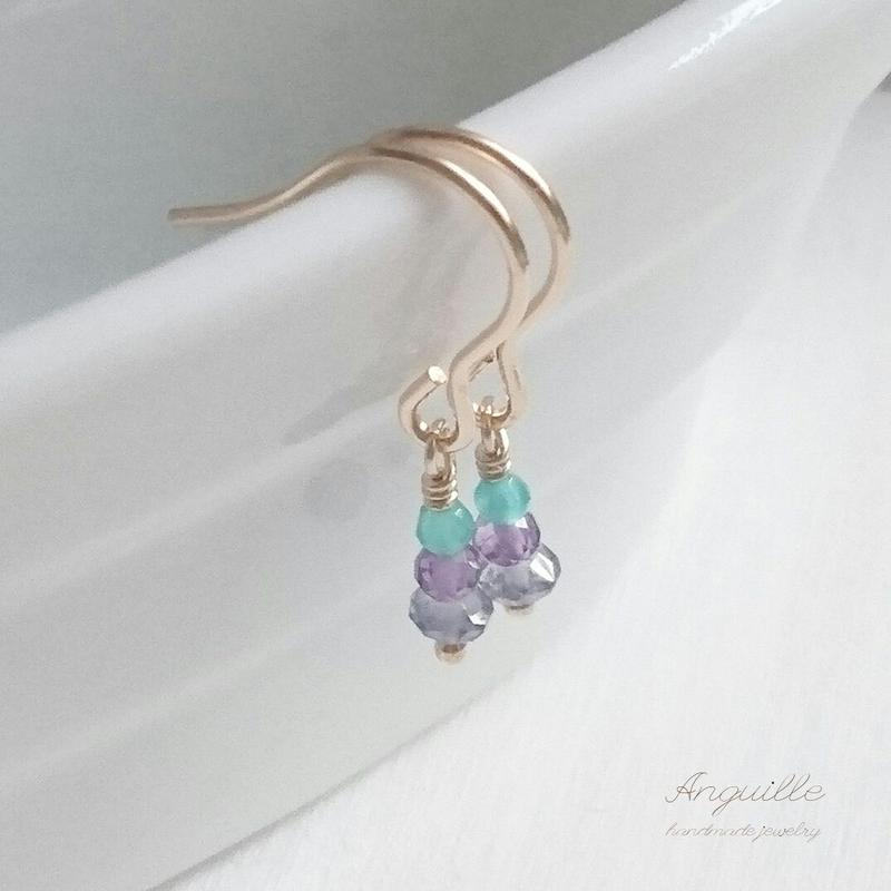 14kgf*Petite Earrings [Iolite&Amethyst&GreenOnyx]*