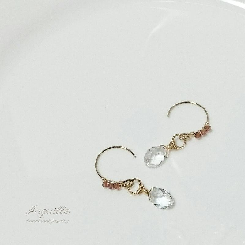 14kgf*Garnet &  White Topaz Earrings*
