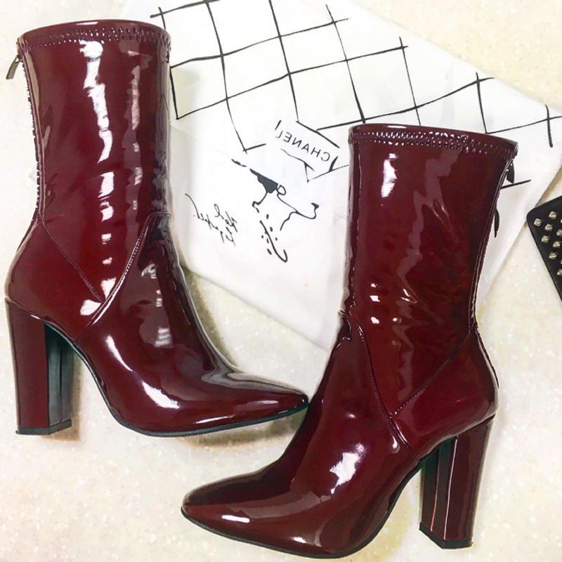 Enamel Middle Boots