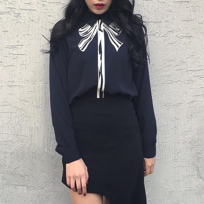 Ribbon Print Blouse NAVY