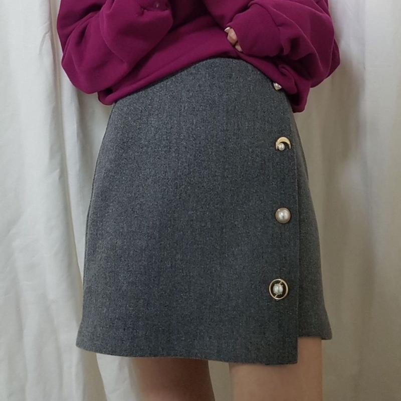 wool mix button skirt / gray