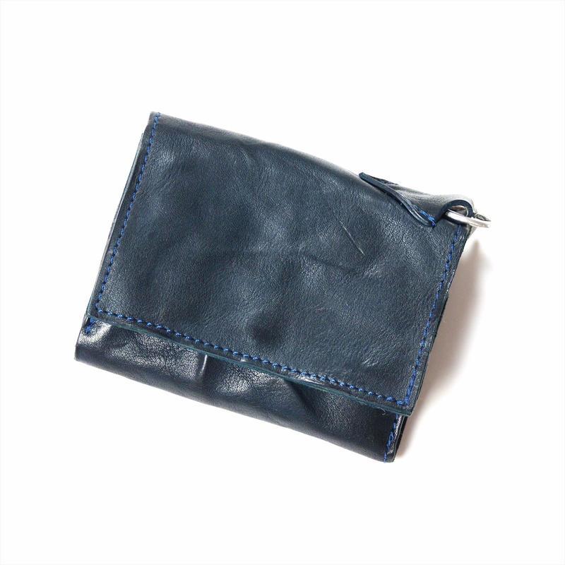 ANNAK ウォッシュフラップ付2つ折り蛇腹財布 ネイビー AK8TA-B8010