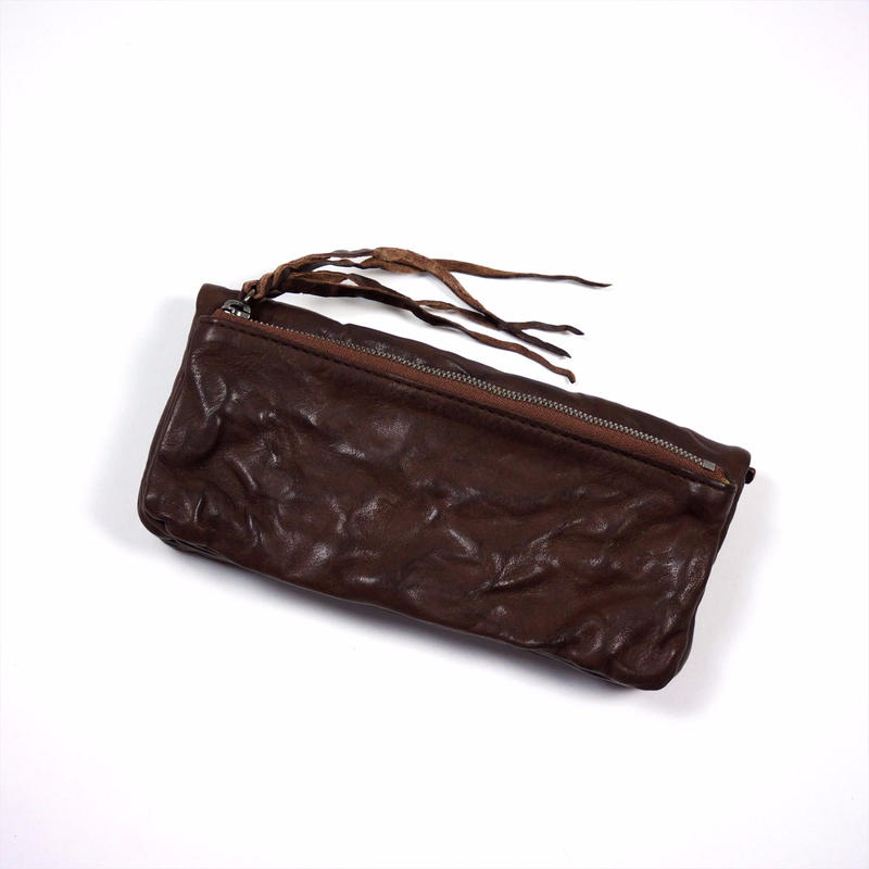 ANNAK ウォッシュ袋縫いソフト長財布 ダークブラウン AK12TA-B0024