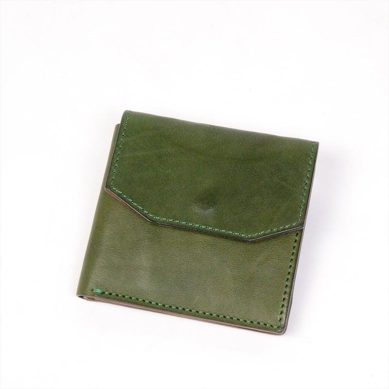 ANNAK フラップ付コンパクト2つ折りオールレザーウォレット 配色タイプ グリーン×ベージュ AK16TA-B0054