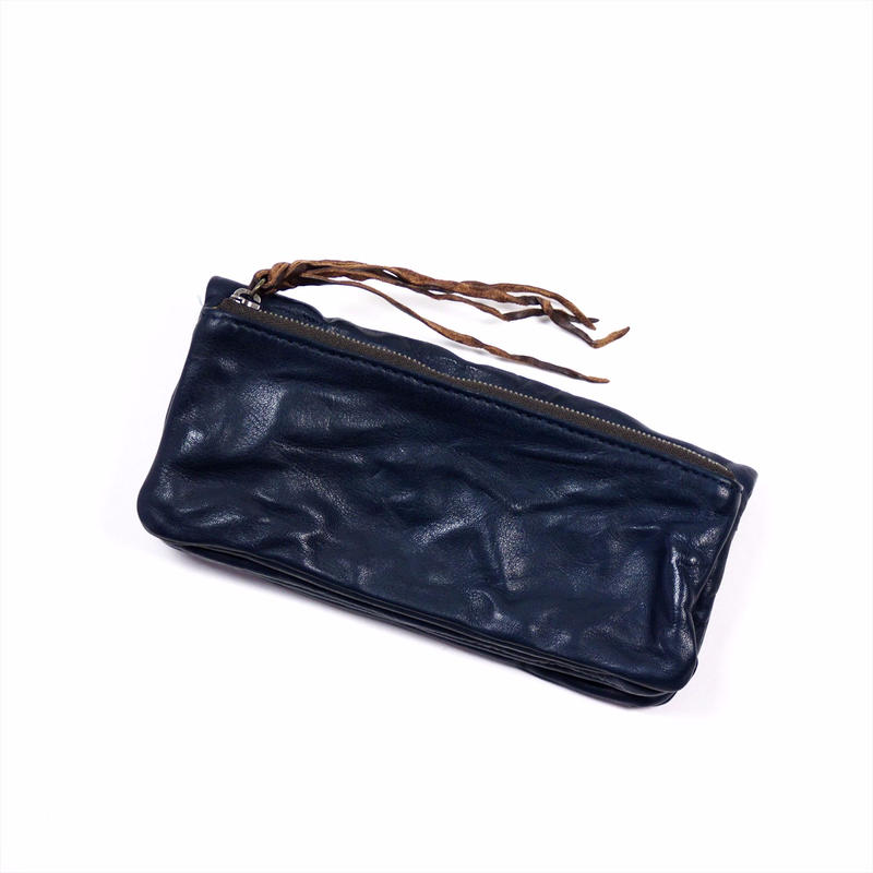 ANNAK ウォッシュ袋縫いソフト長財布 ネイビー AK12TA-B0024