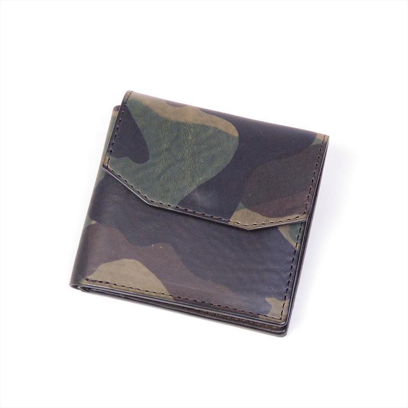 ANNAK イタリーカモフラ柄レザー フラップ付コンパクト2つ折りオールレザーウォレット 配色タイプ グレージュベース×ダークブラウン AK16TA-B0056