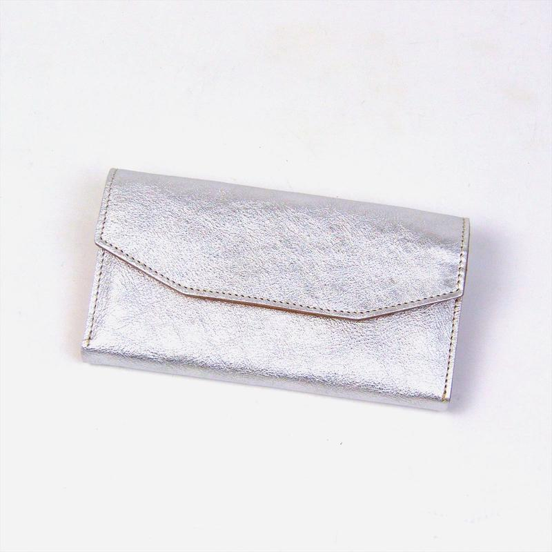 ANNAK シルバー箔レザー×ヌメ 配色ギャルソン財布 AK17TA-B0057