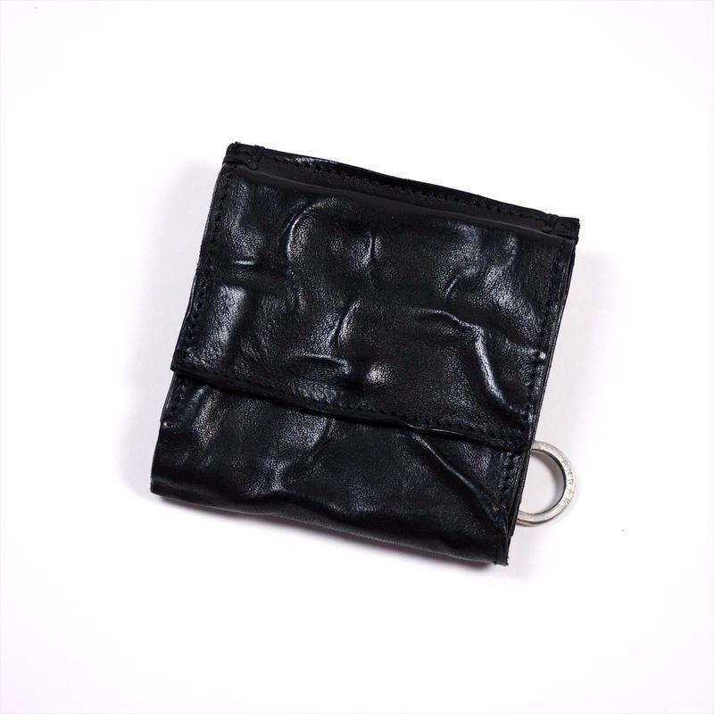 ANNAK ウォッシュ外小銭リング付変形3つ折り財布 ブラック AK7TA-B7002