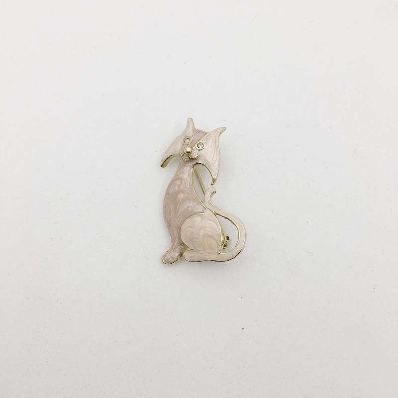 antique cat brooch