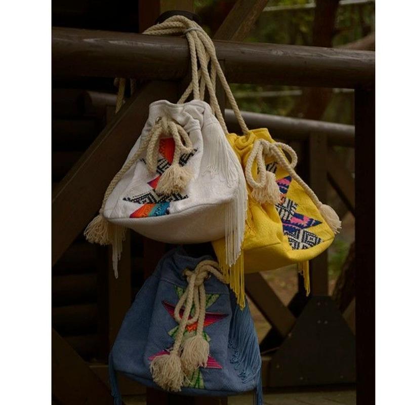 Cotton Jacquard パッチワーク+刺繍バッグ#1818045